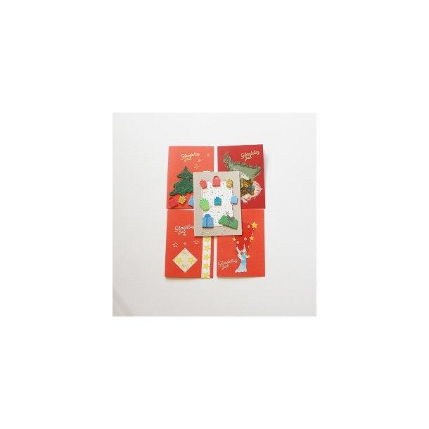 Fem håndlavede julekort, assorteret
