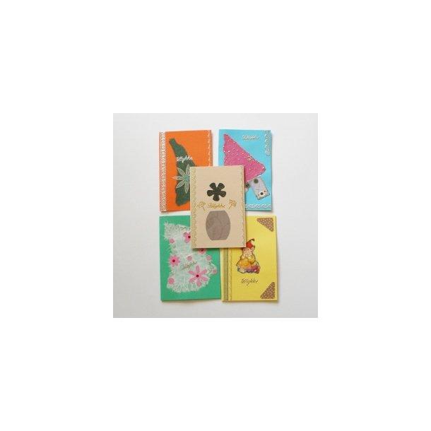 Fem håndlavede kort, assorteret