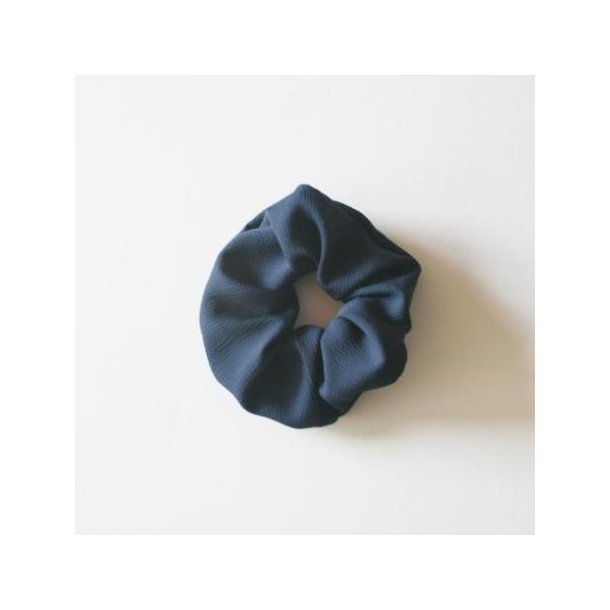 Håndsyet scrunchie, hår elastik, blå, 1 stk