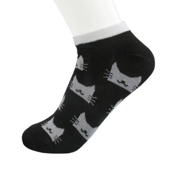 Katte ankelstrømper, sort med grå katte