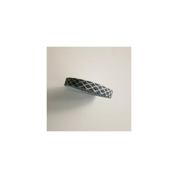 Folde elastik med mønster i grøn og hvid