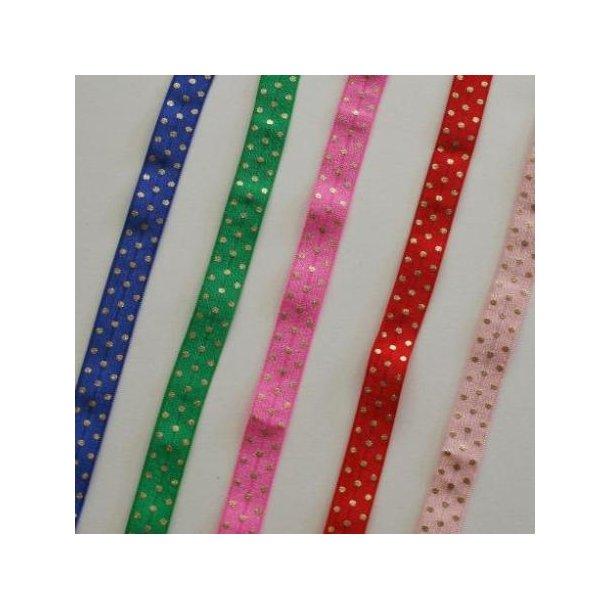 Folde elastik med guld prikker, fem farver
