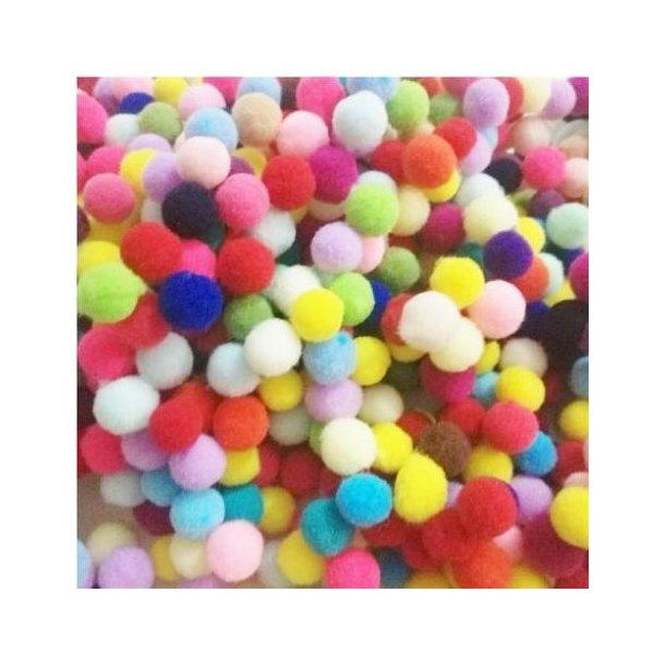 Pomponer, mix farver, 8 mm
