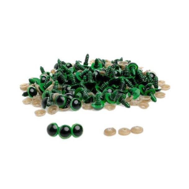 Sikkerheds øjne, grønne, 12 mm