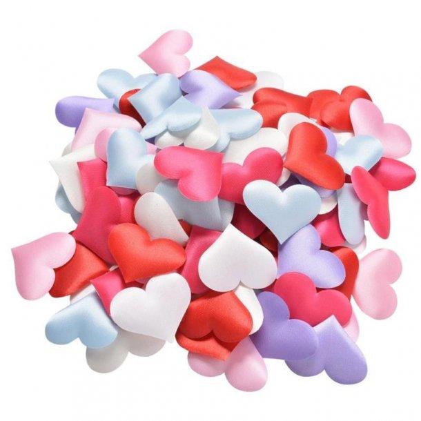 Store stof hjerter, blandede farver