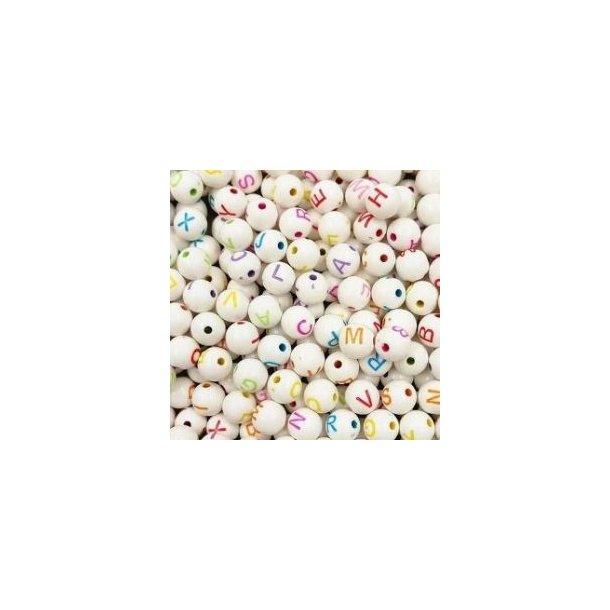 Sjove bogstav perler/kugler, hvide