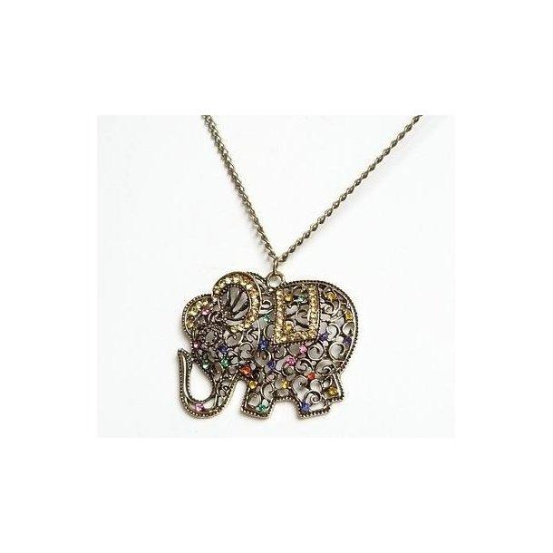 Lang halskæde med elefant