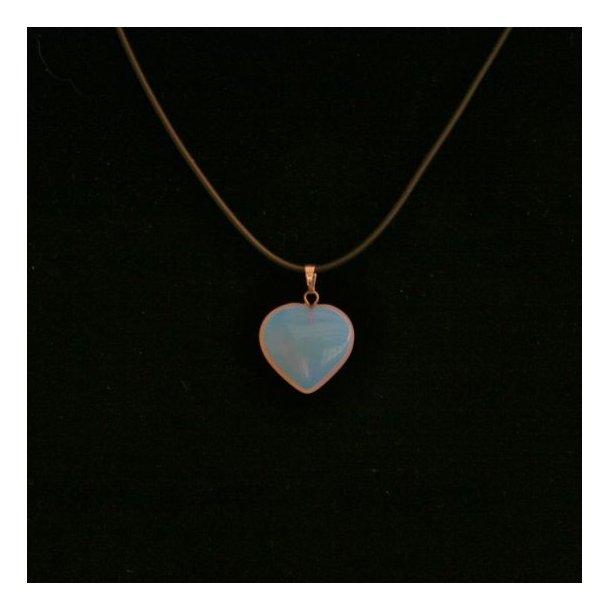 Kort halskæde med sten hjerte