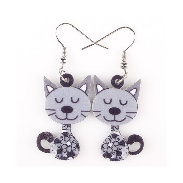 Plexiglas ørering med sjove katte