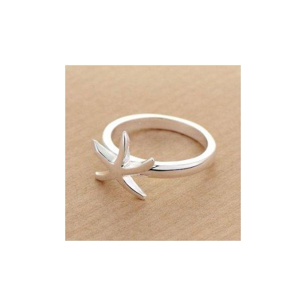 Enkel ring med stjerne, sølvbelagt