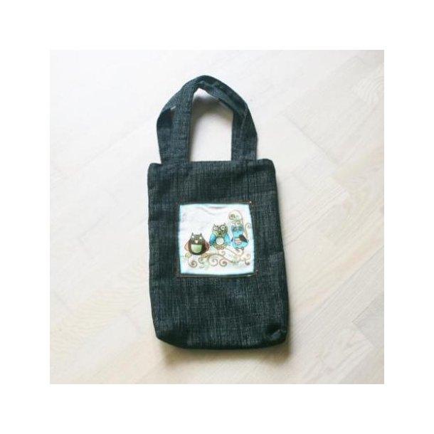 Håndtaske, håndlavet med ugle