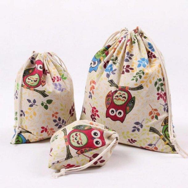Lille uglepose med snore lukning