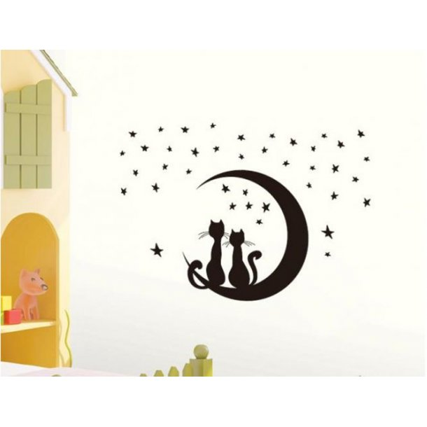 Wallsticker med katte og måne