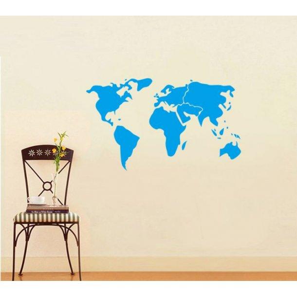 Wallsticker med verdenskort, blå