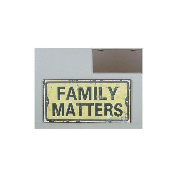 Emaljeskilt med tekst - Family