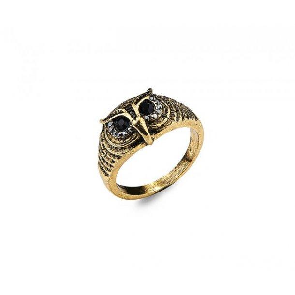 Ugle ring i sølv eller guld farvet