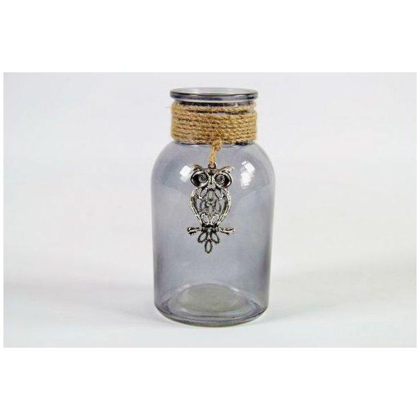 Sølv ugle i glasflaske, 9 cm