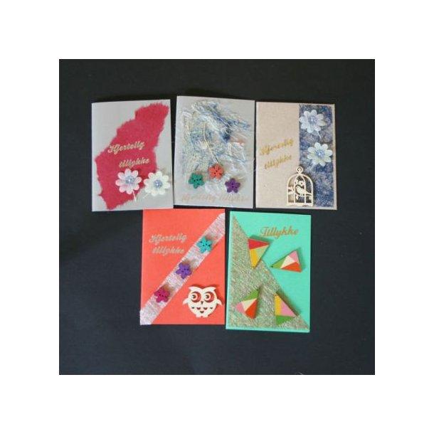 Fem håndlavede unikke kort