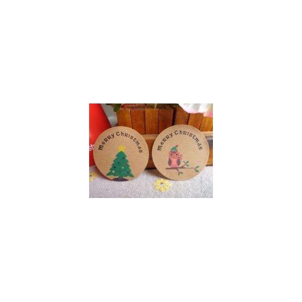 Jule stickers med juletræ og ugle