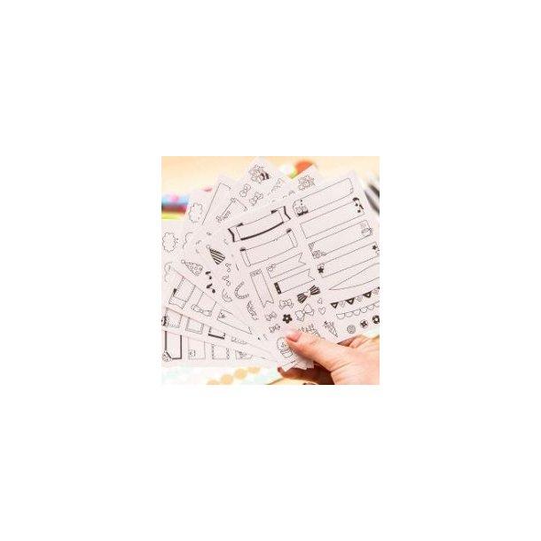 Seks ark sjove stickers, feks til scrapbooking
