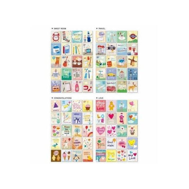 80 små stickers, formet som frimærker