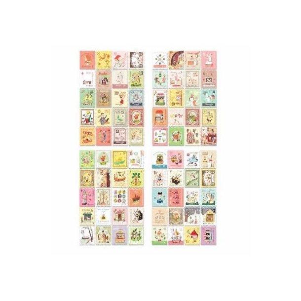 4 ark stickers, formet som frimærker