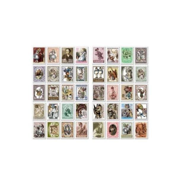80 stickers, formet som frimærker