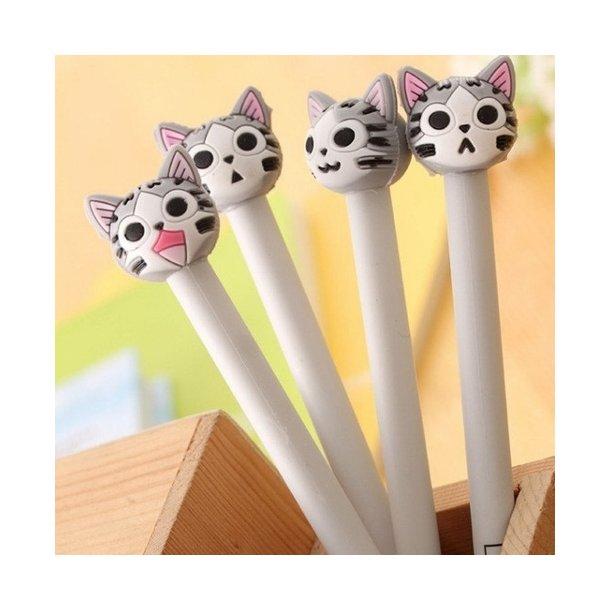 Sjove katte kuglepenne, grå
