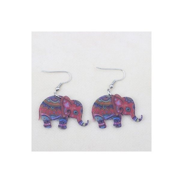 Plexiglas øreringe med elefanter