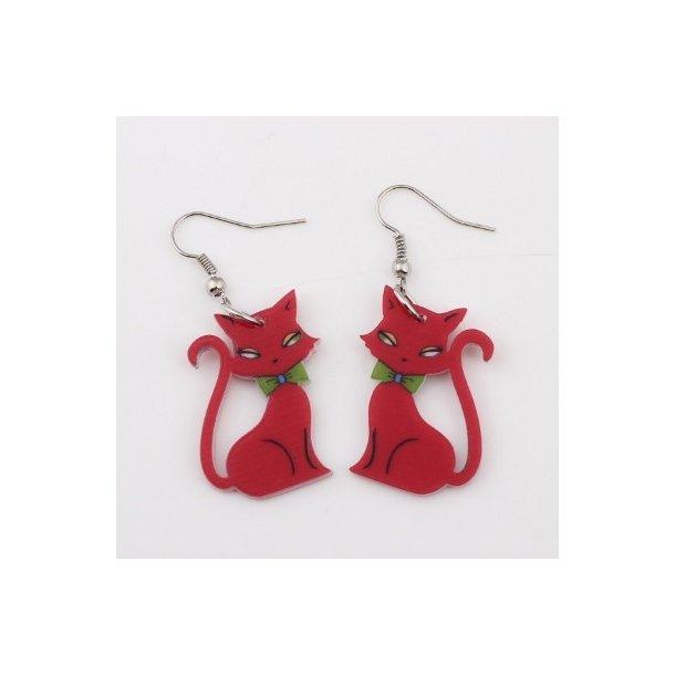 Plexiglas øreringe med røde katte